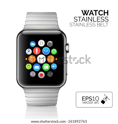 Smart watch isolated on white. Vector illustration - stock vector