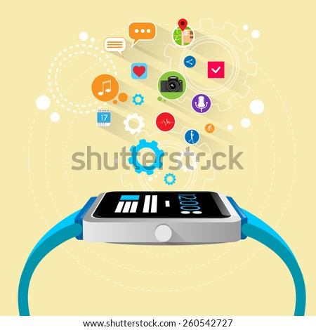 smart watch new technology electronic device with apps icons flat design vector illustration - stock vector