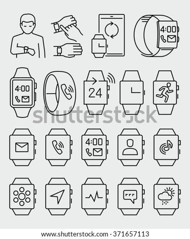 Smart Watch Vector Icons  - stock vector