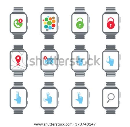 Smart watch. Vector icons. Big set - stock vector