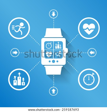 Smart watch wearable device for Health sport concept - stock vector
