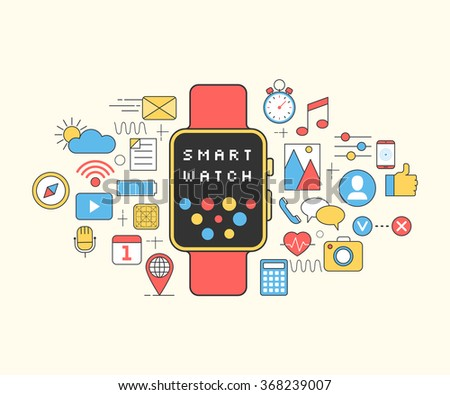 Smart watch with app icons. New technology electronic device. Wrist digital watch media. Line style Modern flat design vector illustration for veshego design web banners, pages or brochures - stock vector