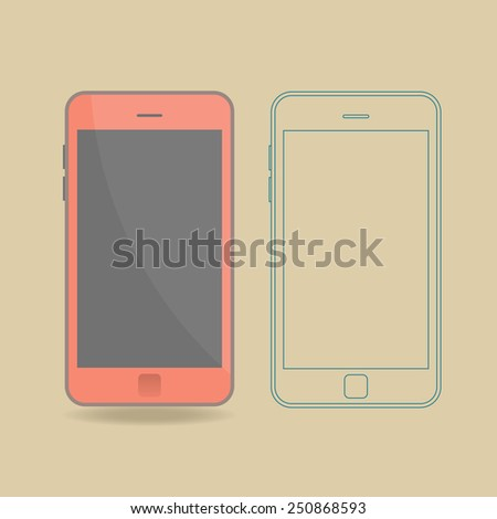 Smartphone abstract flat and outline vector design template - stock vector