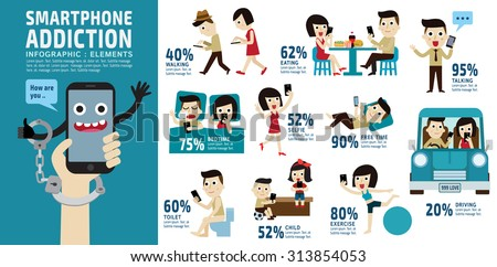 smartphone addiction. bad lifestyle concept. infographic element. vector flat icons cartoon character design. banner header. illustration. isolated on white and blue background. - stock vector