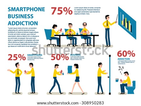 Smartphone Addiction Infographics.Office,business, - stock vector