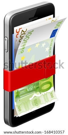 Smartphone and money - stock vector