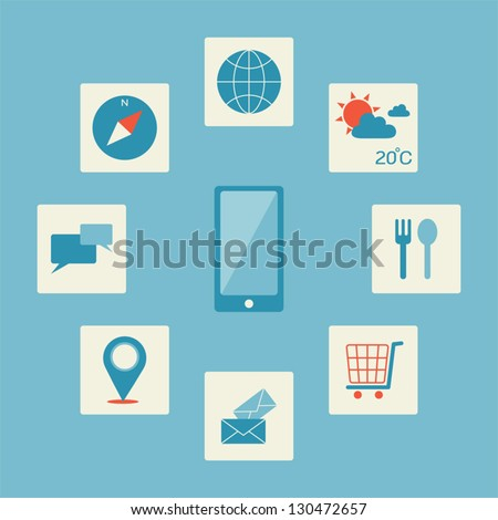 Smartphone application icon, vector - stock vector
