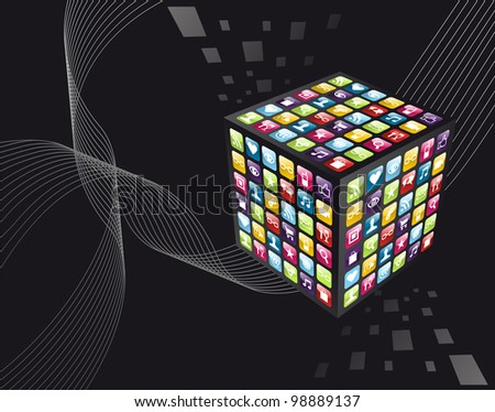 Smartphone application icons in cube shape on black background. Vector file layered for easy manipulation and customisation. - stock vector