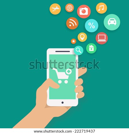 Smartphone apps infographics with a hand holding a phone with for shopping - stock vector