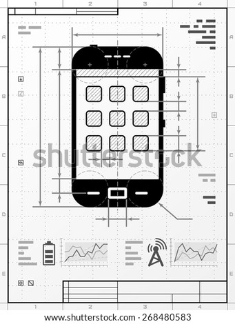 Smartphone as technical drawing. Drafting of phone with title block. Vector illustration about smartphone, touchscreen devices, telecommunication industry, mobile technology, digital electronics, etc - stock vector