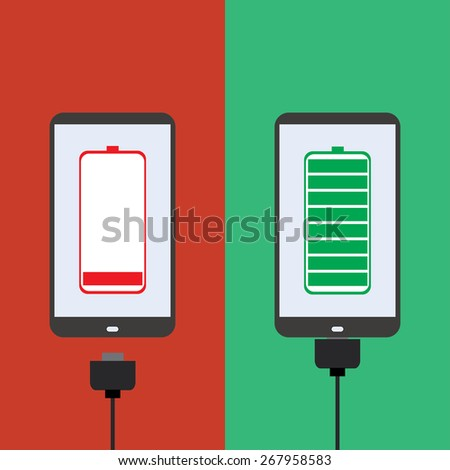smartphone battery,the charger, flat design, vector - stock vector