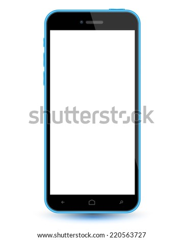 Smartphone blue realistic mockup. Vector illustration. Can use for printing, website, apps element. background for application mockups. can place demo app on screen phone. - stock vector