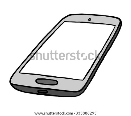 smartphone / cartoon vector and illustration, grayscale, hand drawn style, isolated on white background. - stock vector