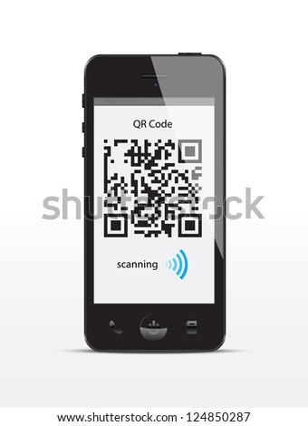 Smartphone concept with a qr code scanning. - stock vector