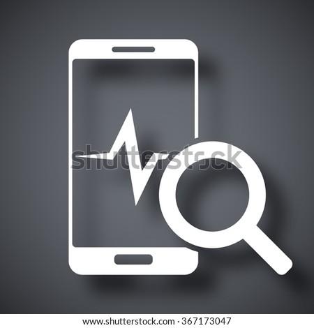Smartphone diagnostics icon, vector - stock vector