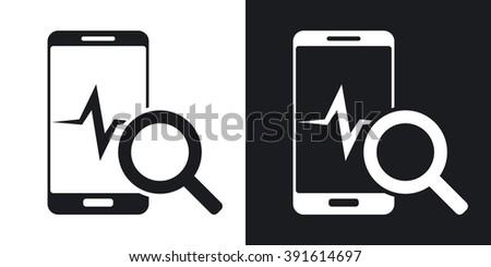 Smartphone diagnostics icon, vector. Two-tone version on black and white background - stock vector