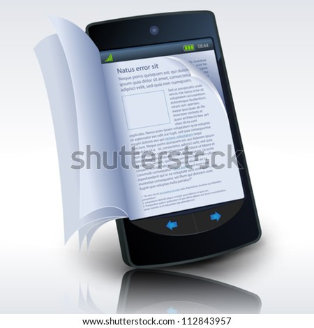 Smartphone E-Book/ Illustration of a smartphone e-book with realistic pages flipping effect. Imaginary model not made from a real existing mobile phone - stock vector