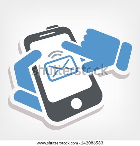 Smartphone e-mail icon - stock vector