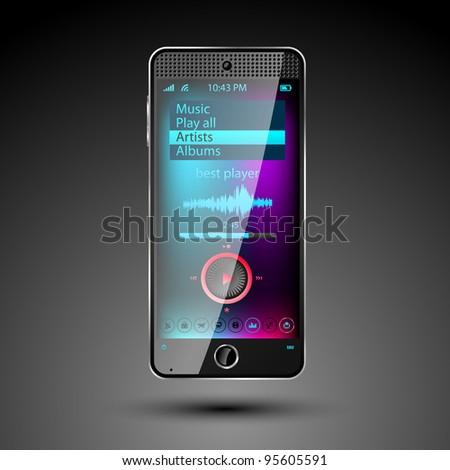 Smartphone editable vector file - stock vector