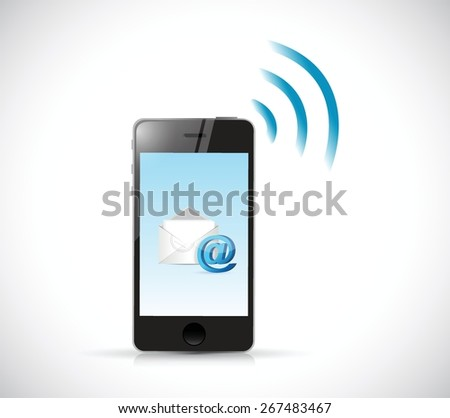 smartphone email wifi communication concept. illustration design - stock vector