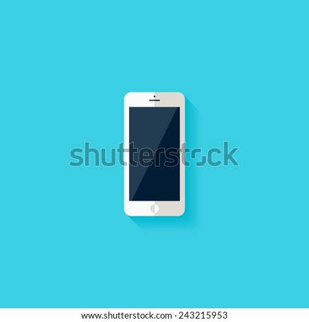 Smartphone flat icon. Modern flat icons vector collection with long shadow effect in stylish colors of web design objects. Trendy Flat Style. Isolated on blue background. Flat design. EPS 10. - stock vector