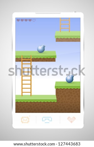 Smartphone game screen, video game, playing arcade on phone - stock vector