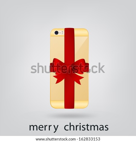 Smartphone gold Christmas present - stock vector