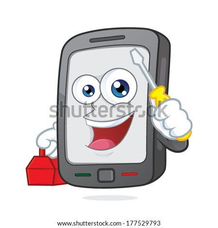 Smartphone holding a screwdriver and a toolbox - stock vector