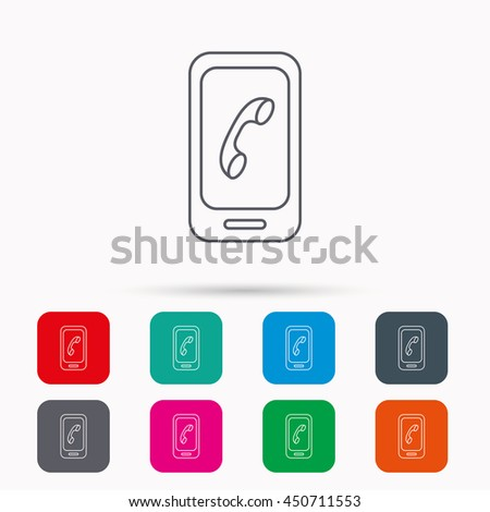 Smartphone icon. Cellphone with touchscreen sign. Linear icons in squares on white background. Flat web symbols. Vector - stock vector