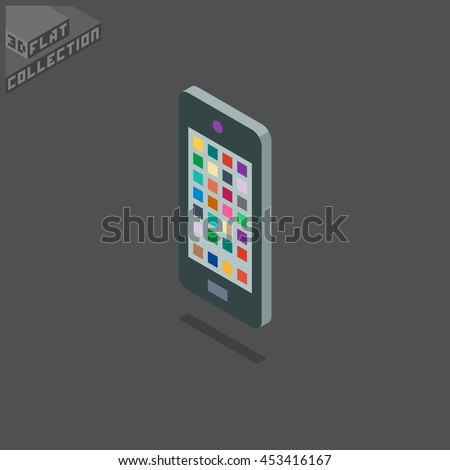 Smartphone Icon. 3D Isometric Low Poly Flat Design. Vector illustration. - stock vector