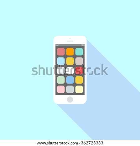 Smartphone icon in iphone style. Cellphone pictogram in trendy flat style isolated on blue background. Telephone symbol for your web site design, logo, app, UI. Vector illustration, EPS10. - stock vector