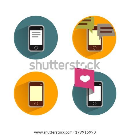 Smartphone icons - stock vector
