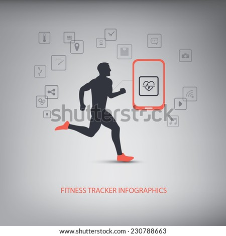 Smartphone icons for monitoring health and fitness with man running silhouette. Eps10 vector illustration - stock vector
