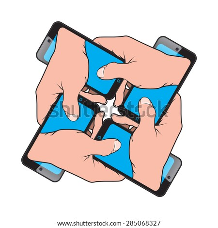 Smartphone in Hand from another Smartphone - stock vector