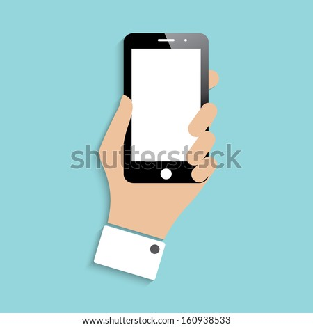 smartphone in hand. icon with shadow. vector illustration. eps10 - stock vector
