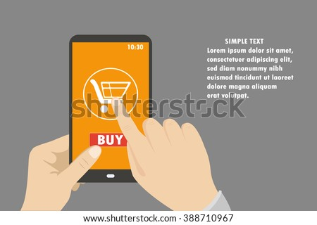 Smartphone in hand. mobile shopping button, flat design.Place for text. Vector - stock vector