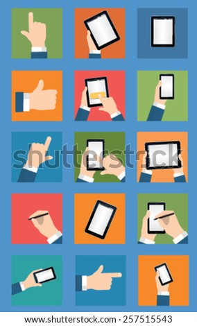 Smartphone in hand. Set vector image - stock vector