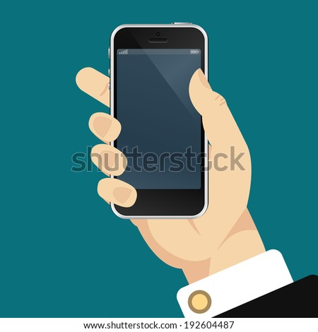 Smartphone in hand template for web and mobile applications  - stock vector