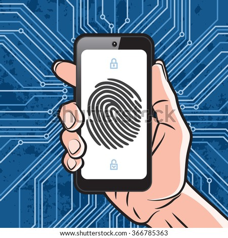 Smartphone in Hand with black finger print on white screen and electronics scheme background. Elements of identification systems, security conception, apps icons. Vector illustration. - stock vector