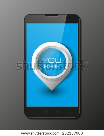 Smartphone, mobile phone isolated with pointers to determine your location, realistic vector illustration. - stock vector