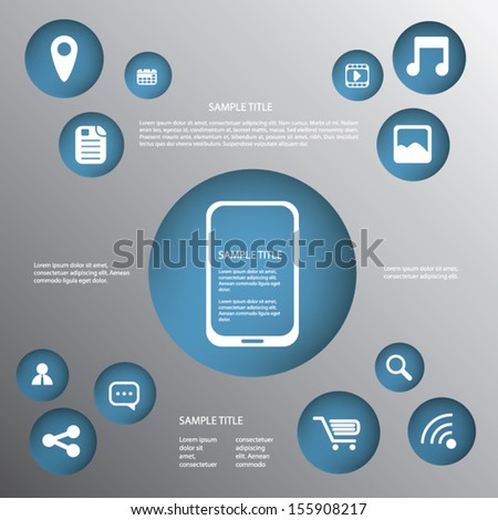 Smartphone or tablet infographics vector illustration with applications buttons and space for text - stock vector