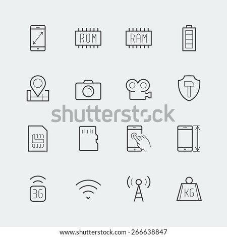 Smartphone parameters icon set: screen dimensions, resolution, ROM and RAM capacity, battery, GPS, camera and video, protection, number of sim cards and other - stock vector