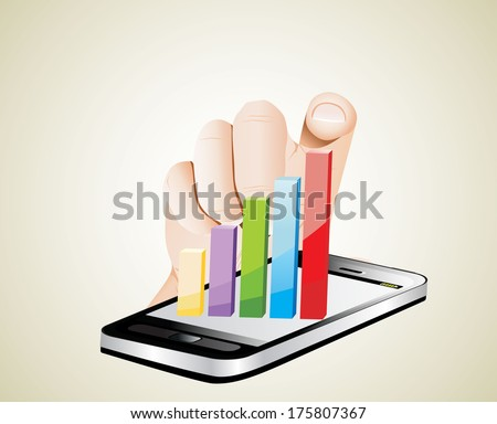 Smartphone screen with graph and a hand. - stock vector