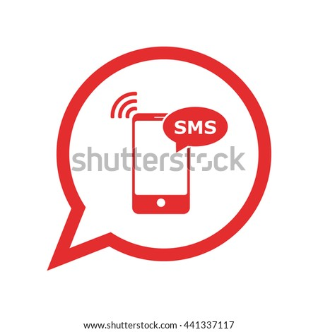 Smartphone sms alert / message . red icon / vector illustration / flat design - stock vector