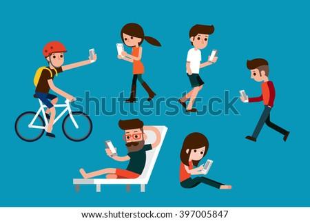 Smartphone society. - stock vector