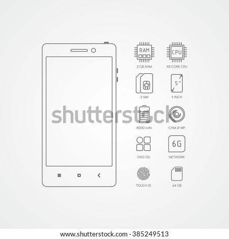 Smartphone specification flat line icons. Gadget description. - stock vector