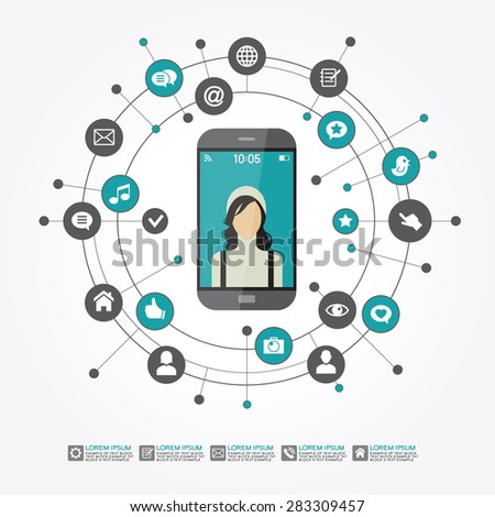 Smartphone surrounded by abstract computer network with integrated circles and icons for digital,  network, internet, connect, social media, communicate.  Infographic design background. AI10 EPS  - stock vector