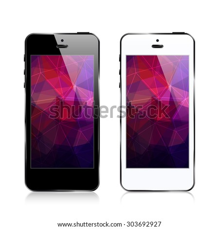 smartphone / triangular abstract background - stock vector