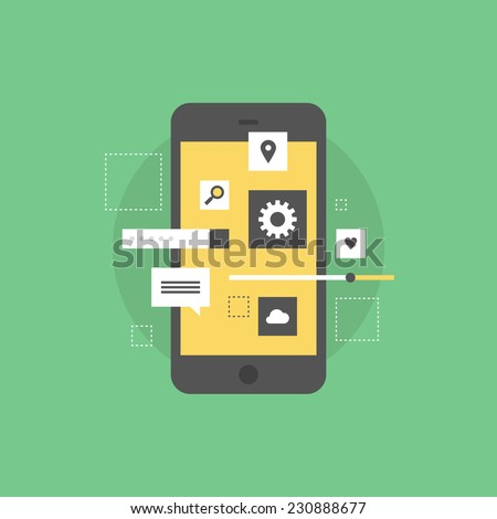 Smartphone user interface development, creating mobile phone application, setting UI menu and navigation elements. Flat icon modern design style vector illustration concept. - stock vector