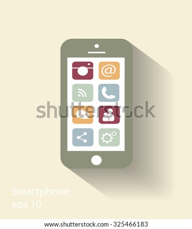 Smartphone vector with social media icons, modern colors - stock vector